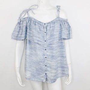 LUCKY BRAND SPACE DYE STRIPED OFF THE SHOULDER TOP